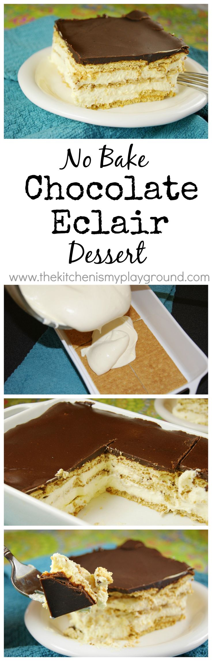 Creamy & delicious No-Bake Chocolate Eclair Dessert -- moms, you're SO not gonna want to share this with the fam! ;) http://www.thekitchenismyplayground.com/2012/03/no-bake-chocolate-eclair-dessert.html