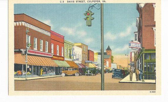Davis Street Culpeper Va Postcard Street