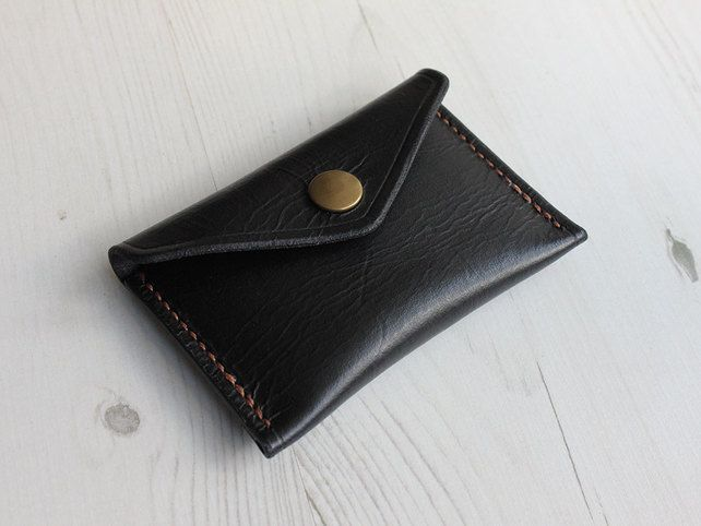 Slim Leather Button Wallet - Black £22.00