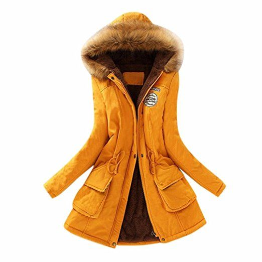 193c810020adc Womens Warm Long Coat Fur Collar Hooded Jacket Slim Winter Parka Outwear  Coats (XXL