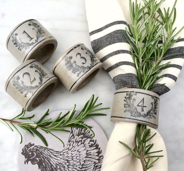 French Country Farmhouse Napkin Rings Grey with Black Laurel Wreath and Numbers by ShopOnALark on Etsy