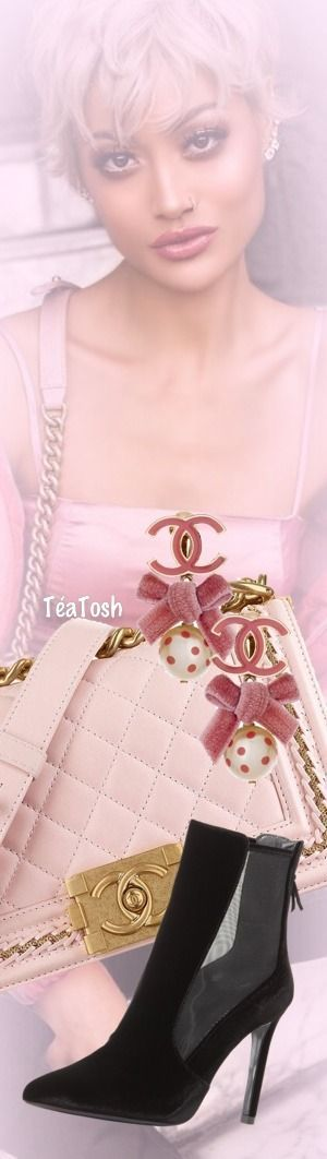❇Téa Tosh❇ Created by & Inspired by MICAH GIANNELI Oct. 19, 2017 Pink Chanel Boy Bag, Stuart Weitzman, Casino Velvet Mesh Bootie Chanel velvet bow dot pearl drop earrings.