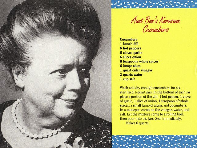 Mayberry Aunt Bee's Kerosene Cucumbers Recipe Postcard