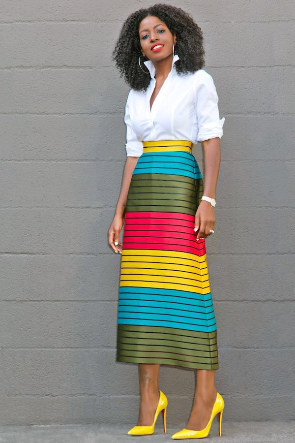 Style Pantry | Button Down Shirt + Striped Color Block Midi Skirt