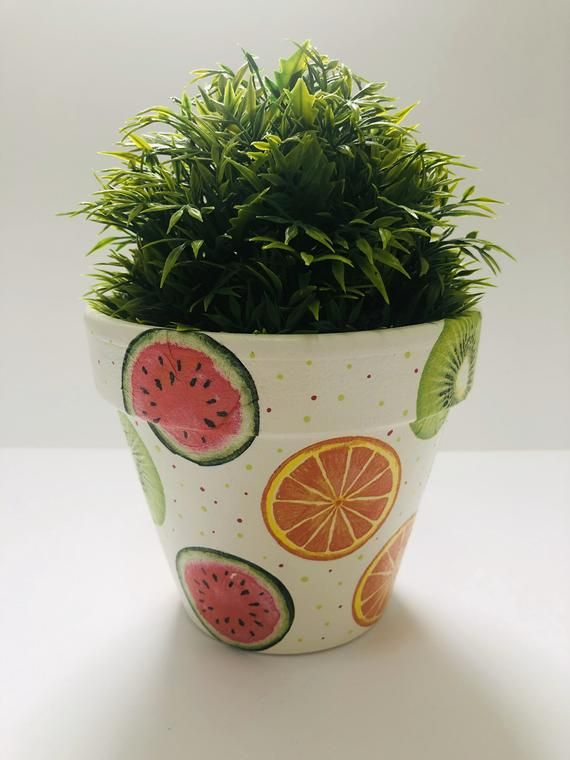 Hand Painted And Decoupaged Terracotta Plant Pot A Watermelons