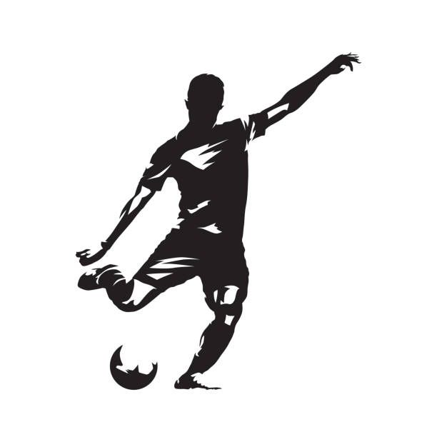 Football Player Kicking Ball Abstract Vector Drawing Soccer Football Poses Football Tattoo Soccer Tattoos