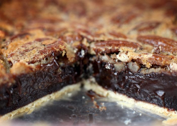 """Brownie Pecan Pie. This is freaking delicious!! It was a huge hit. It calls for boxed browines, but I used allrecipes.com's """"one bowl browines"""" recipe instead. I did the """"super fudgy"""" version, and served chilled...amazing!"""