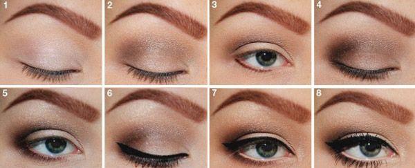 Отличный макияж для маленьких карих глаз: подробные
