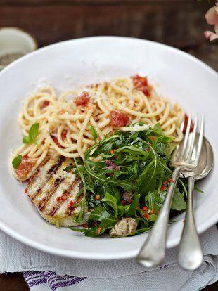 Grilled tuna with tomato spaghetti | Jamie Oliver