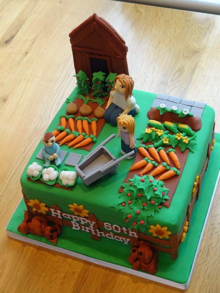 Allotment garden birthday cake cake art novelty for Vegetable garden cake ideas