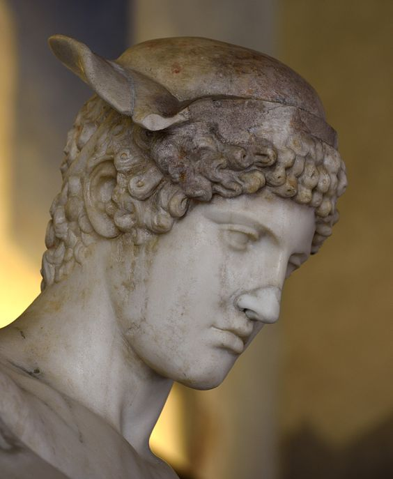 Hermes Loghios (close-up). Medium-grained (Pentelic) marble. Roman copy 2nd cent. CE after a Greek original of the 5th cent. BCE ascribed to Phidias.