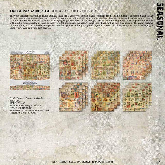 Tim Holtz / Ideaology - Kraft Resist Seasonal Stash - cha summer 2012: 12X12 Designs, Craft Resist