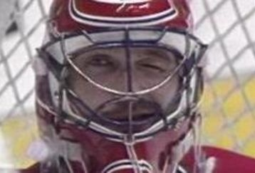 Patrick Roy winking (Hockey Night in Canada used to zoom in on him doing this).  Too bad he was a Hab!
