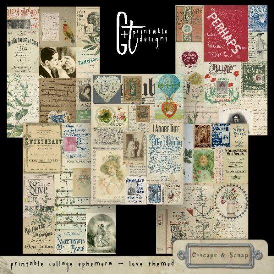 GTPD PRINTABLE COLLAGE EPHEMERA - LOVE THEMED