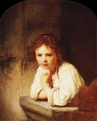 """Young Girl At A Window"" ... by Rembrandt 1645"