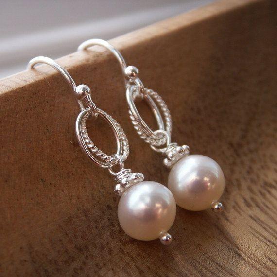Everyday pearl earrings, freshwater pearls, solid sterling silver ear wires, silver earrings on Etsy, $25.00