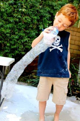 Make super long bubble snakes with a water bottle and wash cloth.  It's so much fun to see how long you can make your snake.