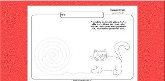 Grafomotorika. Kreslíme klbko pre mačičku.