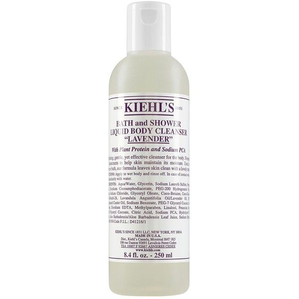 Kiehl's Since 1851 Liquid Body Cleanser in Lavender 8.4 oz. (27 CAD) ❤ liked on Polyvore featuring beauty products, bath & body products, body cleansers and lavender