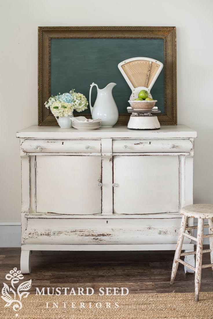 miss mustard seed | farmhouse white buffet | miss mustard seed prepares an antique buffet for the Lucketts Spring Market using Miss Mustard Seed's Milk Paint Farmhouse White and Tough Coat