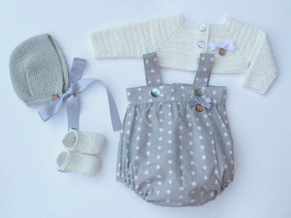 Baby Clothing Set: Romper Bolero Bonnet And by MarigurumiShop