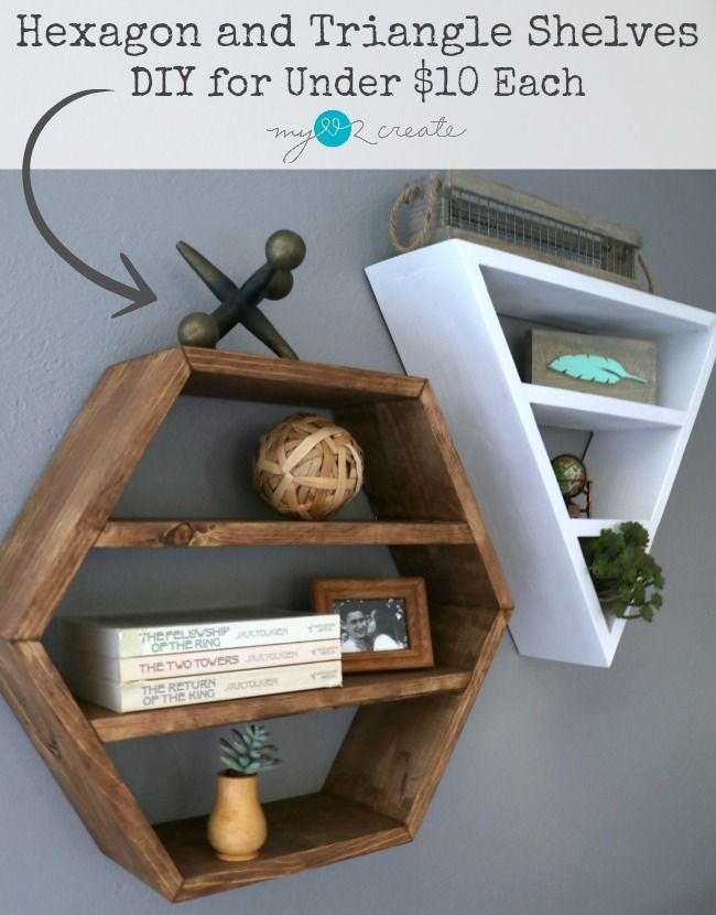 Build you own awesome Restoration Hardware inspired Hexagon and Triangle Shelves free plans and picture tutorial at MyLove2Create.