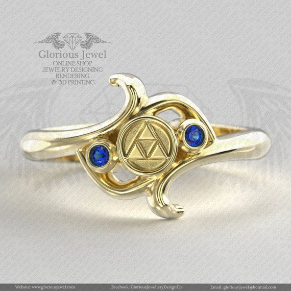 Glorious legend of Zelda hyrule triforce inspired ring with CZ