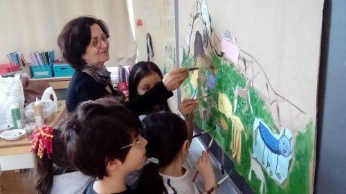 çocuklarla resim atölyesi etkinliği