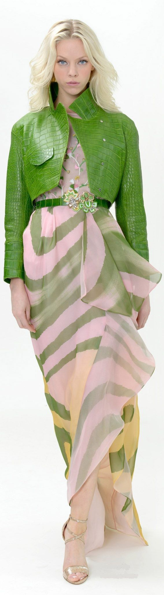 Dennis Basso Resort 2015. This looks a lot like a jacket I designed for my fashion design class. Same color and the same texture, collared jacket. Mine was longer though. Nice fresh green color.