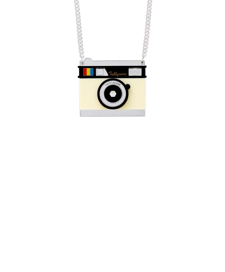 Camera Necklace - Capture the moment with the Camera Necklace. A vintage 'Tattymatic' camera is captured in acrylic and features a view finder that you can really look through! The perfect present for a budding photographer, this necklace is guaranteed to be the focal point of any outfit.
