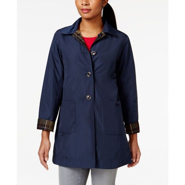 Barbour Water-Resistant Reversible Derby Mac Raincoat ($349) ❤ liked on Polyvore featuring outerwear, coats, navy, mac coat, navy raincoat, barbour raincoat, blue raincoat and water resistant coat