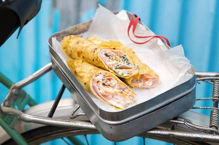 #Omelett-Wrap mit Schinken #Rezept #togo #kalorienarm