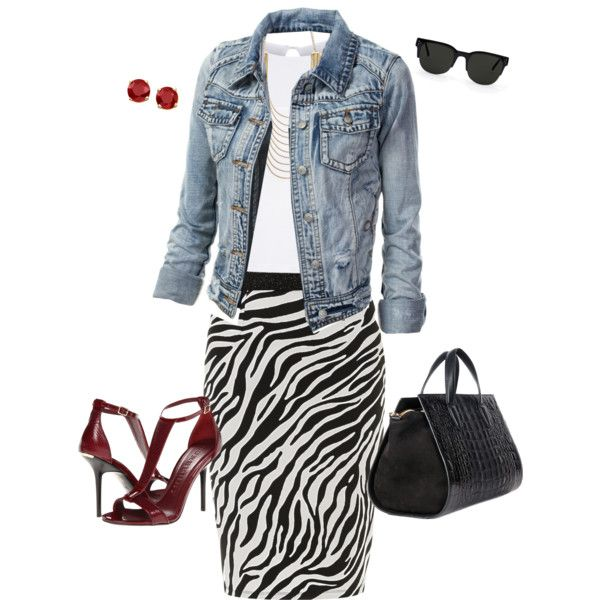 Black & White Outfit~Animal/Zebra Print Pencil Skirt+Denim Jacket