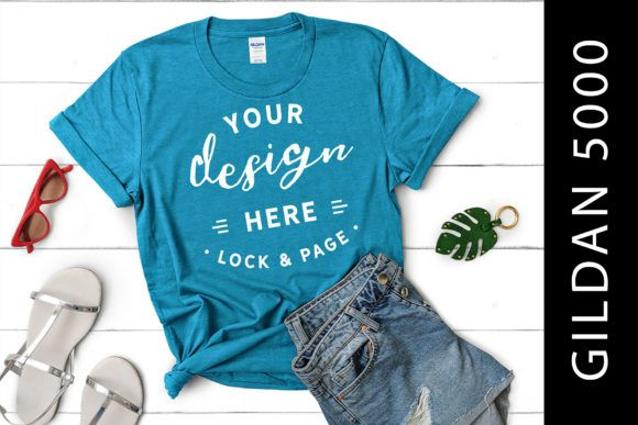 Download Heather Sapphire Gildan 5000 Flat Lay Graphic By Lockandpage Creative Fabrica Shirt Mockup Tshirt Mockup Mockup