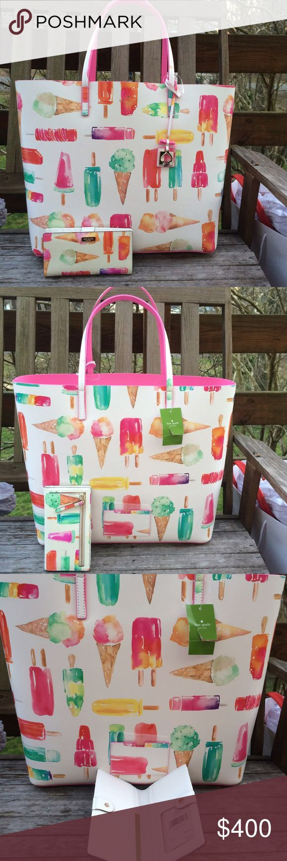 """🎀One Hour Sale🎀 FIRM Ice Cream Len Tote & Wallet Sale ends at 8:30 EST. New with tags. New release (1-2017), not priors that were smaller and on vinyl. Len - Flavor of the Month Popsicle and Ice Cream Tote printed on leather. Great for a laptop in addition to your other items. Interior large zip pocket, one slip pocket. Lined on interior bottom. Protective Feet on the bottom of bag 13.5""""H x 18""""W x 6.5"""". Dual handles with 8"""" drop Includes the matching Stacy wallet. Matching iPhone 7 case is…"""