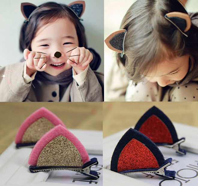 A PAIR of Lovely Cat Ears Hairpin Children's Hair Ornaments Hair Accessories http://cinderellajewelry.com/