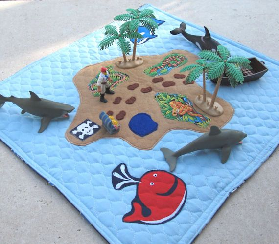 Travel Play Mat Pirate Play Mat Baby Boy by MelsCreativeWishes, $29.00