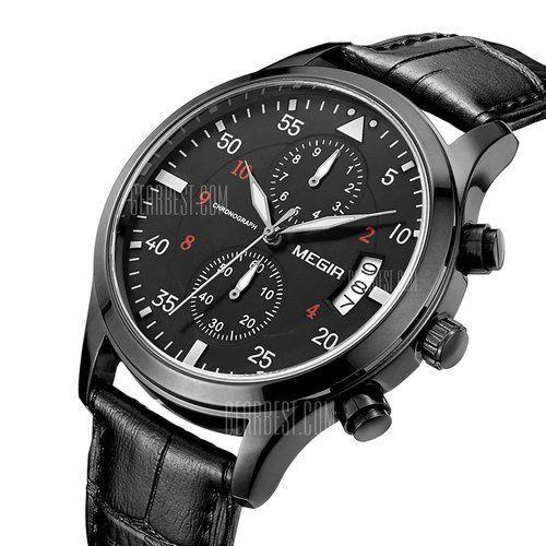 MEGIR Mens Watches Genuine Leather Band Men Japan Quartz Watch -Black  This…