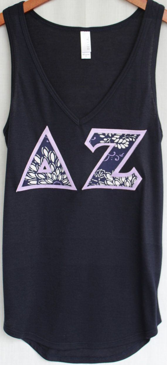 Navy Bella V-Neck Tank With  Navy and Lilac by UniversityShop