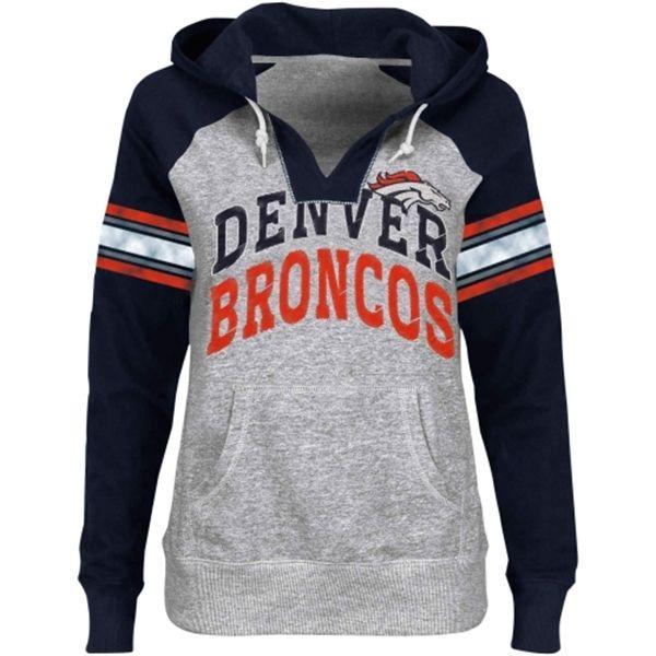 Denver Broncos Ladies Huddle V-Neck Hoodie - Ash/Navy Blue. I WANT!!!!!