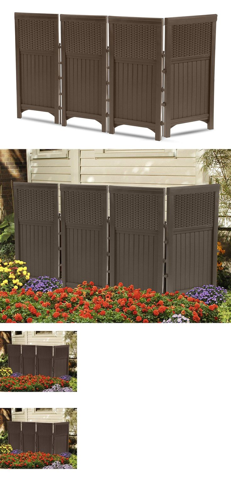 Privacy screen for chain link fence ebay - Privacy Screens Windscreens 180991 Outdoor Screen Panel Set Resin Wicker Garden Portable Privacy Fence