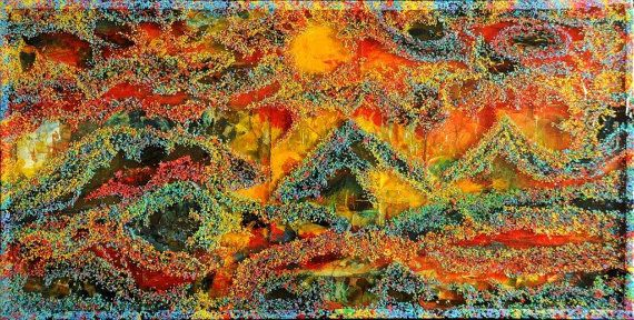 Gelaagde hars Art - kunst-salontafels - originele Mixed Media schilderijen - 2'x 4', gelaagde verven, epoxyhars en objecten door ChicagoArtist