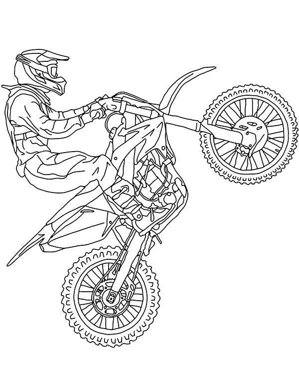 Printable Motorbikes Coloring Pages Motocross Motorbike