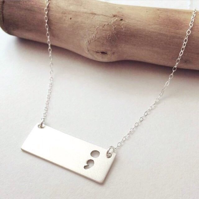 The SemiBar Semicolon Necklace, Bar Necklace, project semicolon jewelry, Depression Awareness, Suicide awareness, by LadyWatsonDesigns on Etsy https://www.etsy.com/listing/242505539/the-semibar-semicolon-necklace-bar