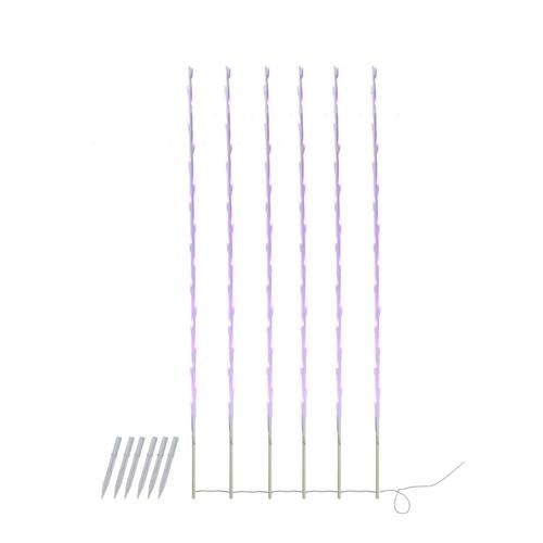 Set of 6 Purple LED Lighted White Branch Patio and Garden Novelty Christmas Light Stakes 4'