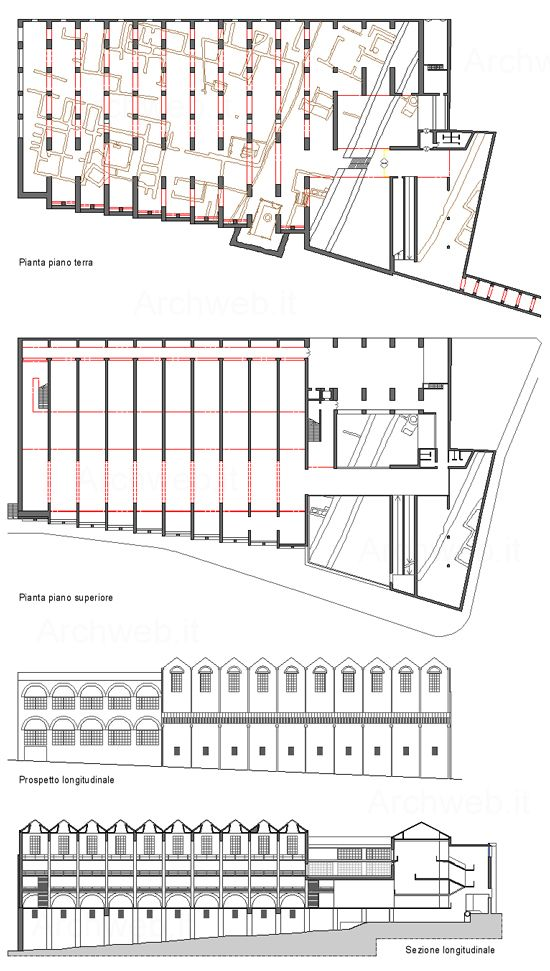 Plans and elevations of the National Museum of Roman Art, by Raphael Moneo. ...