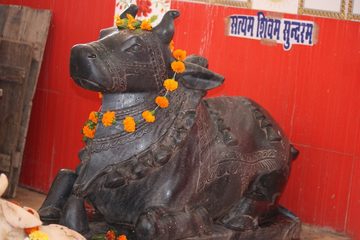 The Nandi statue at one of the temples in Madhya Pradesh, India