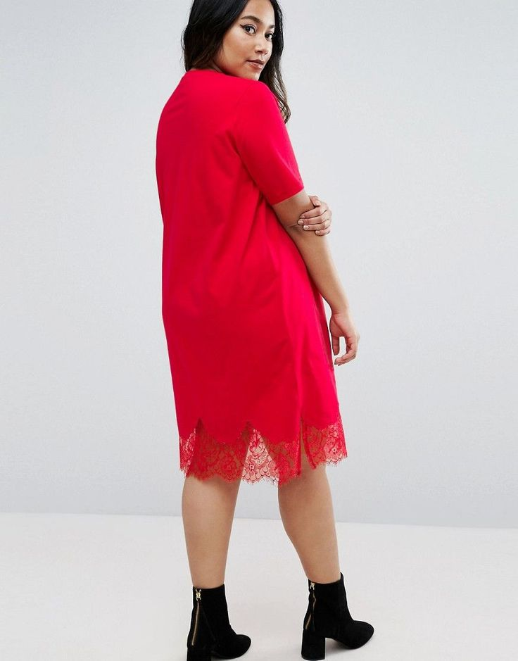 ASOS CURVE T-Shirt Dress with Lace Inserts - Red