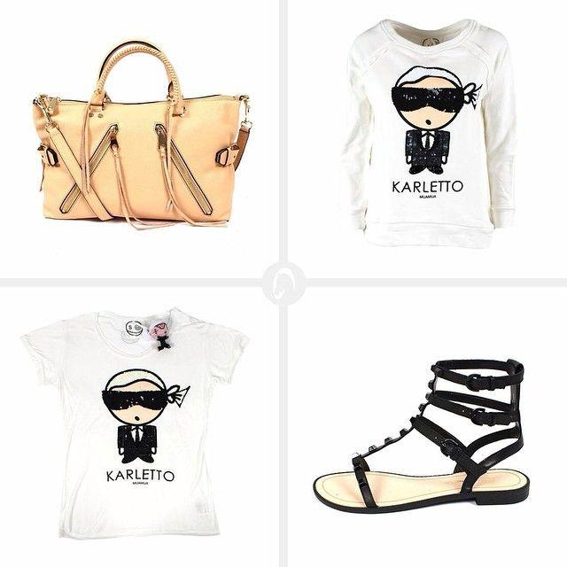 "Look for Today: T-shirt e felpa ""Karletto"" MUA MUA Borsa e sandali @rebeccaminkoff #new #fashion #womenswear #ss15 #spring #collections #instafashion #rebeccaminkoff #muamuadolls #karletto #karlito #mascheronistore #mascheroni #quality #elegance #musthave"