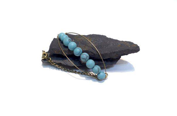 Howlite stone, length of bracelet 18 cm  #earrings #boho